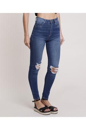 Sawary Calça Jeans Feminina Skinny Super Lipo Pull Up Cintura Alta com Rasgos Médio