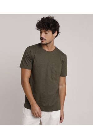 Basics Camiseta Masculina Básica com Bolso Manga Curta Gola Careca Militar