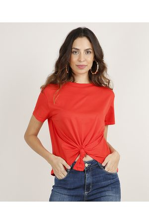 Basics Mulher Blusas de Manga Curta - Blusa Feminina Básica Cropped com Nó Manga Curta Decote Redondo Vermelha