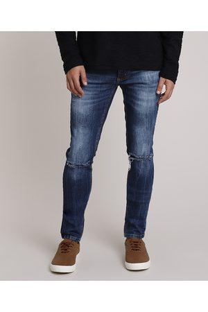 Clockhouse Calça Jeans Masculina Skinny com Rasgos Escuro
