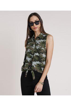 Clockhouse Mulher Camisa Formal - Camisa Feminina Camuflado com Bolso e Nó Sem Manga Verde Militar