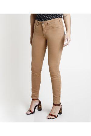 YESSICA Mulher Calça de Alfataria - Calça de Sarja Feminina Skinny Cintura Média com Zíper na Barra Caramelo