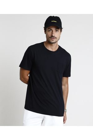 Basics Homem Manga Curta - Camiseta Masculina Básica Com Bolso Manga Curta Gola Careca Preta