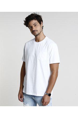 Basics Homem Manga Curta - Camiseta Masculina Básica Com Bolso Manga Curta Gola Careca Branca