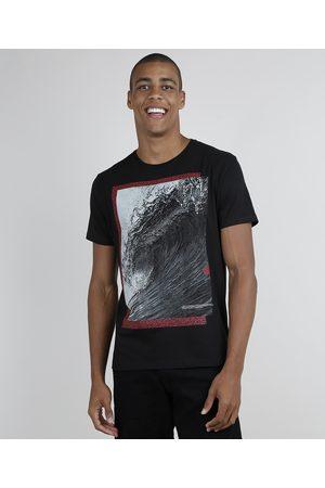 Suncoast Camiseta Masculina Onda Manga Curta Gola Careca Preta