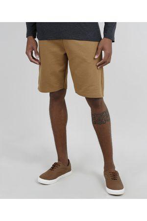 Basics Homem Moletom - Bermuda Masculina Básica Relaxed em Moletom Caramelo