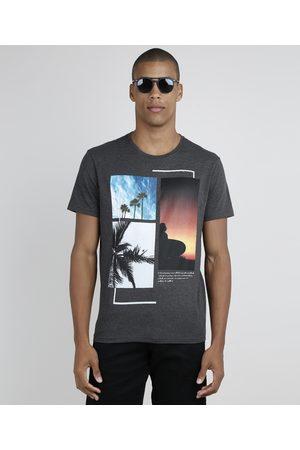 Suncoast Camiseta Masculina Paisagem Tropical Manga Curta Gola Careca Mescla Escuro