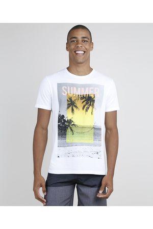 """Suncoast Camiseta Masculina Summer"""" Tropical Manga Curta Gola Careca Off White"""""""