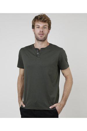 Basics Camiseta Masculina Básica Manga Curta Gola Portuguesa Militar