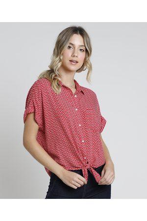Clockhouse Camisa Feminina Estampada Floral com Bolso e Nó Manga Curta Vermelho