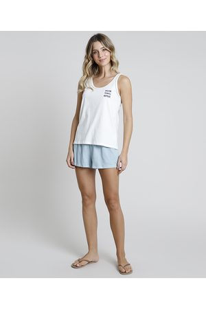 "Design Íntimo Pijama Regata Feminino Dream"" Off White"""