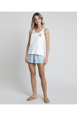 "Design Íntimo Pijama Regata Feminino Dream"" Off White"""