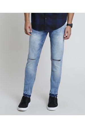 Clockhouse Calça Jeans Masculina Skinny com Rasgos Barra Desfiada Claro