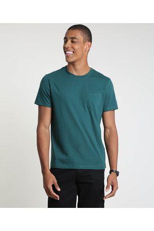 Clockhouse Camiseta Masculina com Bolso Manga Curta Gola Careca Escuro