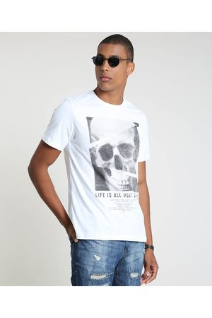 Clockhouse Camiseta Masculina Caveira Manga Curta Gola Careca Off White