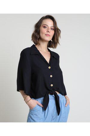 YESSICA Mulher Camisa Formal - Camisa Feminina com Nó Manga Ampla Preta