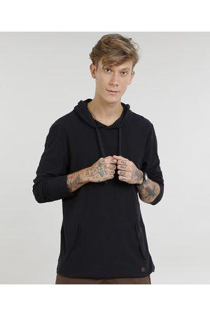 Suncoast Camiseta Masculina com Bolso e Capuz Manga Longa Preta
