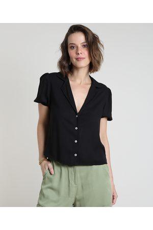YESSICA Camisa Feminina Ampla Manga Bufante Preta