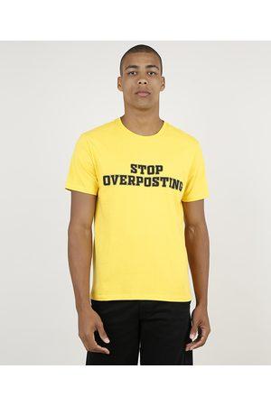 "Clockhouse Homem Manga Curta - Camiseta Masculina Stop Overposting"" Manga Curta Gola Careca Amarela"""