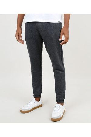 Basics Calça Masculina Básica Relaxed em Moletom com Cordão e Bolsos Mescla Escuro
