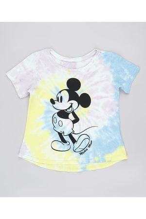 Disney Menina Manga Curta - Blusa Infantil Mickey Estampada Tie Dye Manga Curta Multicor