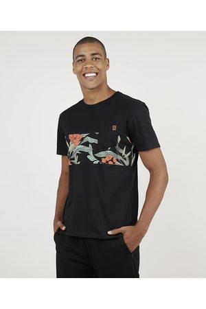 Suncoast Camiseta Masculina com Recorte Floral e Bolso Manga Curta Gola Careca Preta