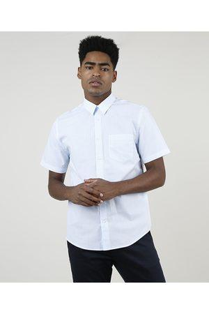 ANGELO LITRICO Homem Camisa Manga Curta - Camisa Masculina Comfort Estampada Xadrez com Bolso Manga Curta Azul Claro