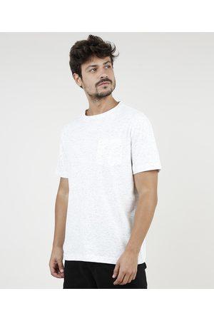 Clockhouse Homem Manga Curta - Camiseta Masculina Botonê com Bolso Manga Curta Gola Careca Off White
