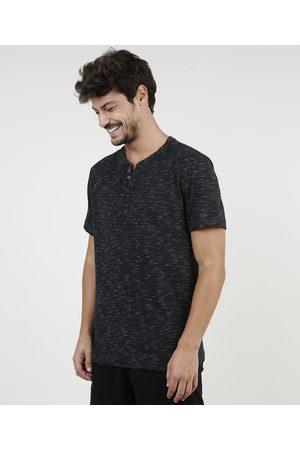 Basics Homem Manga Curta - Camiseta Masculina Básica Mescla Manga Curta Gola Portuguesa Preta
