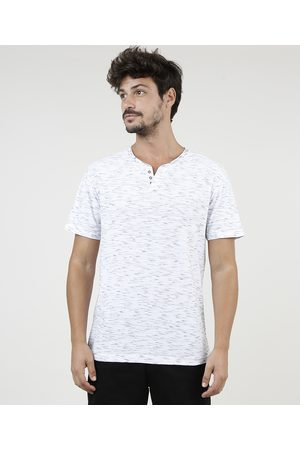 Basics Homem Manga Curta - Camiseta Masculina Básica Mescla Manga Curta Gola Portuguesa Branca