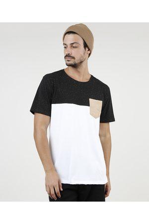 Clockhouse Camiseta Masculina com Recorte e Bolso Manga Curta Gola Careca Branca