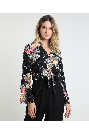 Clockhouse Camisa Feminina Estampada Floral com Nó Manga Longa Preta