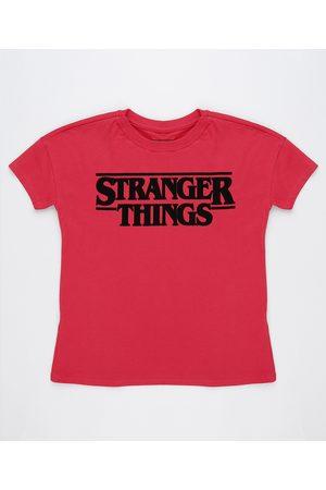 netflix Menina Camiseta - Blusa Stranger Things Infantil Manga Curta Vermelha