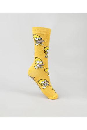 Os Simpsons Meia Masculina Carnaval Cano Alto Divertida Homer Simpson Estampada Mostarda - 41-43