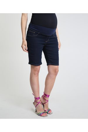 YESSICA Mulher Bermuda - Bermuda Jeans Feminina Gestante Ciclista Escuro