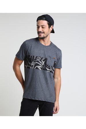 Suncoast Homem Manga Curta - Camiseta Masculina com Bolso e Recortes Manga Curta Gola Careca Mescla Escuro