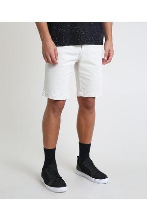 Clockhouse Homem Bermuda - Bermuda de Sarja Masculina Slim com Bolsos Off White