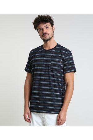 Suncoast Camiseta Masculina Listrada com Bolso Manga Curta Gola Careca Preta