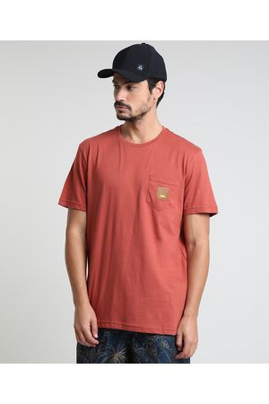 Suncoast Camiseta Masculina Básica com Bolso Manga Curta Gola Careca Cobre