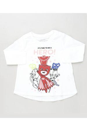 PJ Masks Blusa Infantil Manga Longa Branca