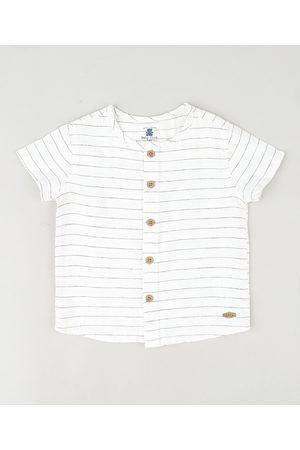BABY CLUB Camisa Infantil Listrada Manga Curta Branca
