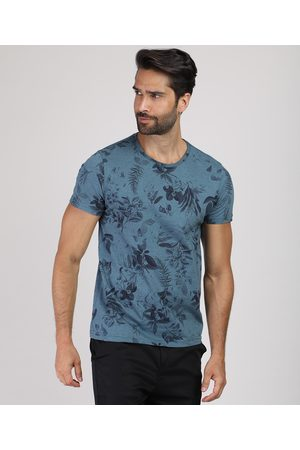 AL Contemporâneo Camiseta Masculina Slim Estampada Floral Manga Curta Gola Careca Azul