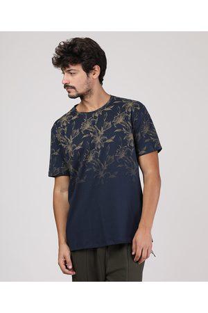 Clockhouse Camiseta Masculina Estampada Floral Manga Curta Gola Careca Azul Marinho