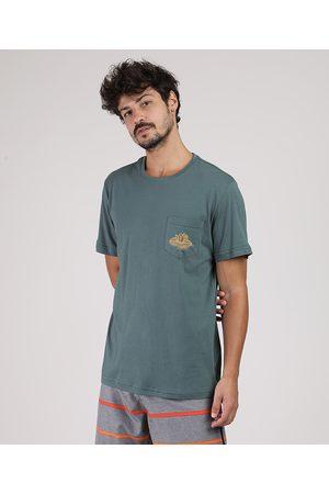 Suncoast Camiseta Masculina Flor e Bolso Manga Curta Gola Careca