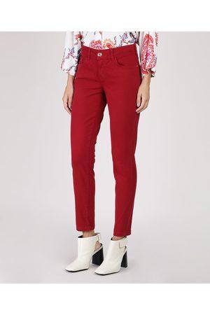 YESSICA Mulher Calça de Alfataria - Calça de Sarja Feminina Skinny Cintura Média Vermelha