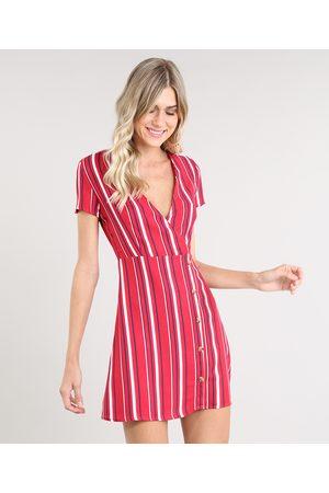 Clockhouse Vestido Feminino Curto Transpassado Listrado com Botões Manga Curta Vermelho