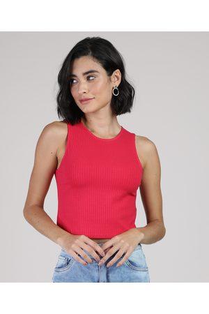 Basics Regata Feminina Básica Cropped Canelada Decote Redondo Pink