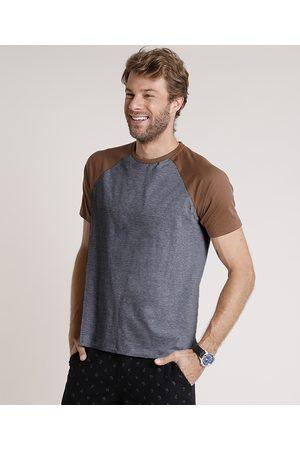 Basics Camiseta Masculina Básica Raglan Manga Curta Gola Careca Mescla Escuro