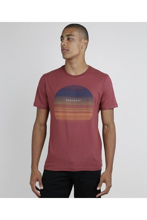 Suncoast Homem Manga Curta - Camiseta Masculina Pôr do Sol Manga Curta Gola Careca