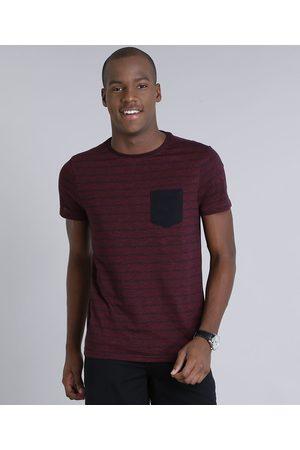 AL Contemporâneo Homem Manga Curta - Camiseta Masculina Slim Fit Listrada com Bolso Manga Curta Gola Careca Vinho
